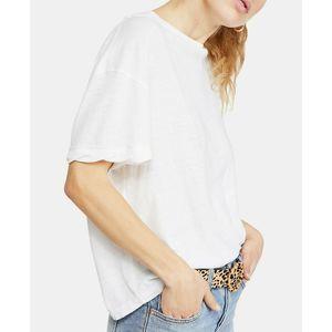 Free People White Viola Open Back T-Shirt NWT L